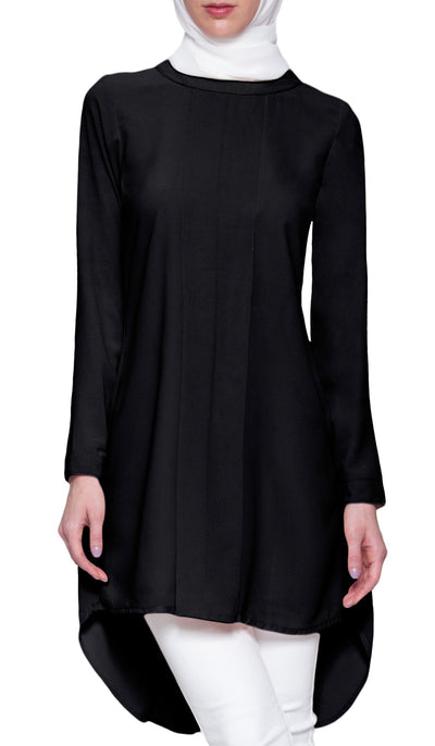 Reem Pleated Chiffon Long Tunic - Black