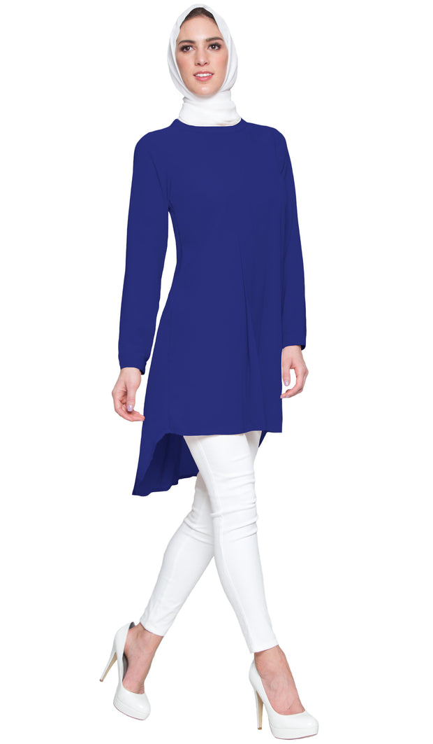 Reem Pleated Chiffon Long Tunic - Royal Blue