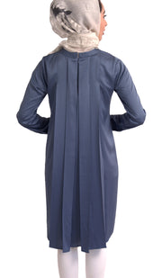 Reem Pleated Silky Formal Long Modest Tunic - Blue Shadow