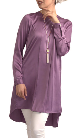 Reem Pleated Silky Formal Long Modest Tunic - Lavender