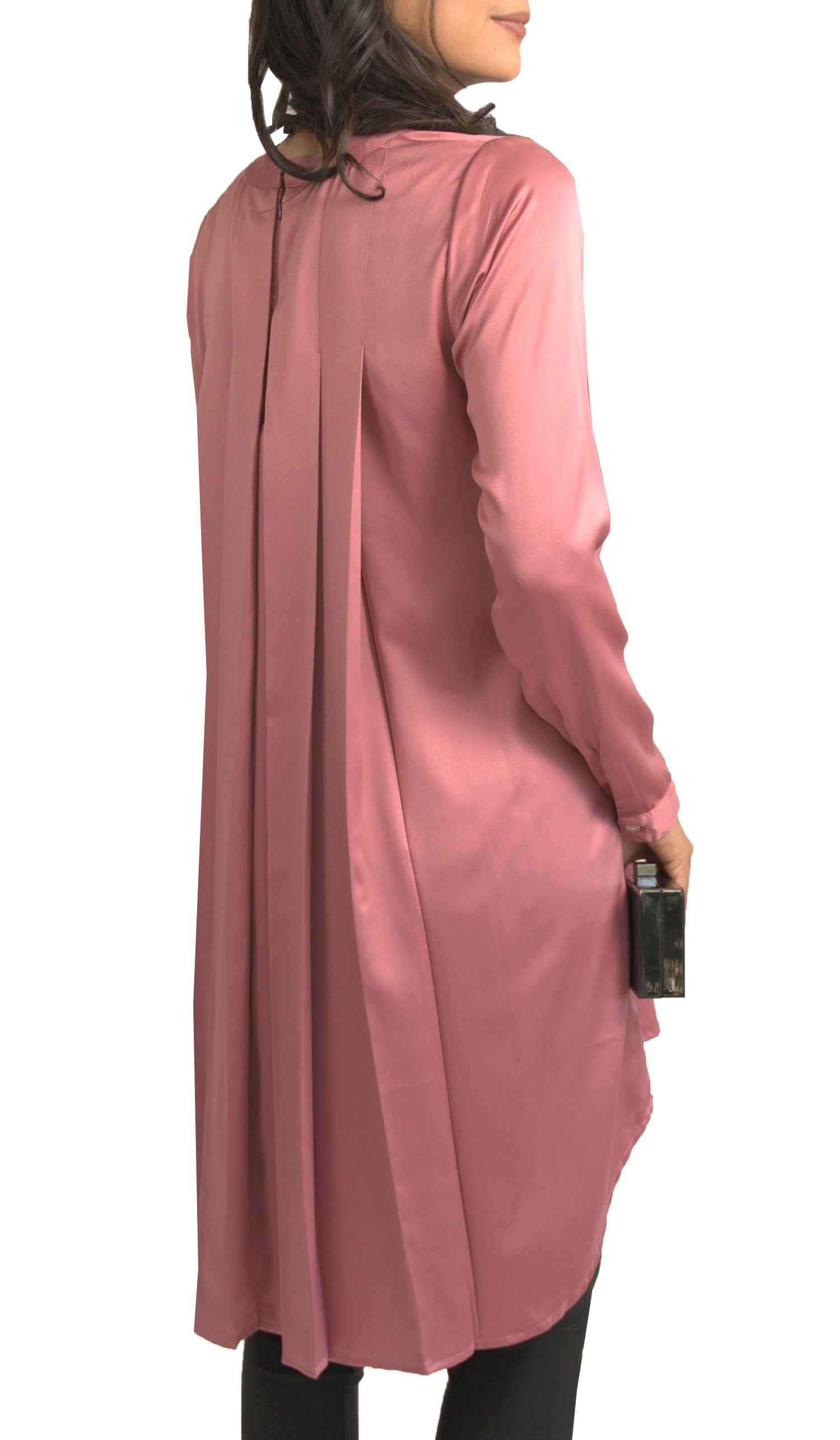 Reem Pleated Silky Formal Long Modest Tunic - Rose Pink