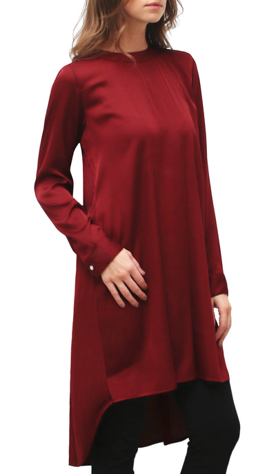 Reem Satin Formal Long Tunic Dress - Maroon