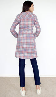 Refika Long Cotton Plaid Tunic Dress - Gray and Purple