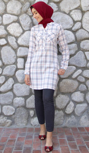 Refika Long Cotton Plaid Tunic Dress - Gray and White
