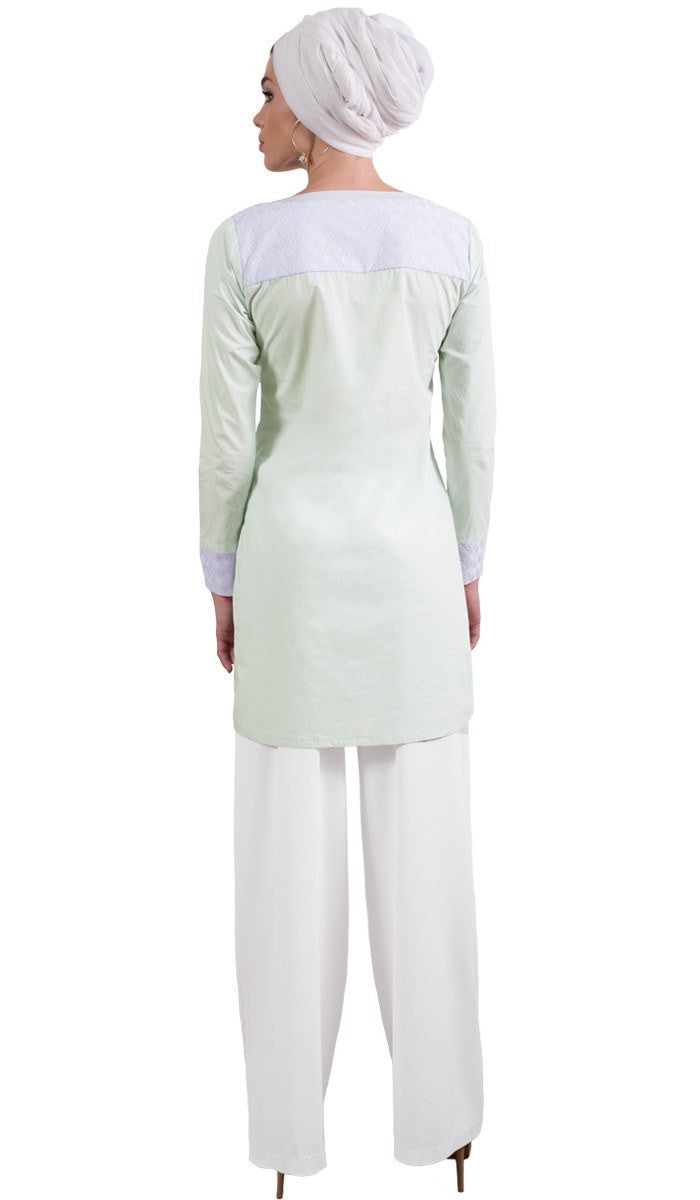 Rita Long Eyelet Accent Fine Cotton Tunic - Ice Green Back View