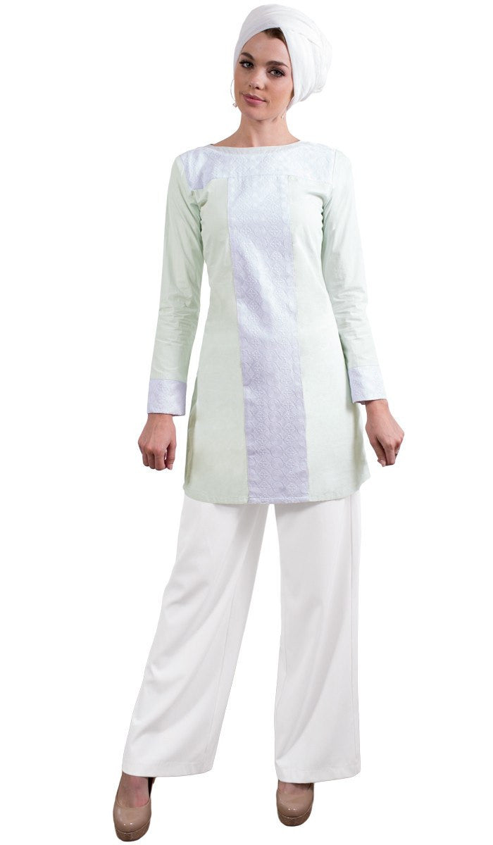 Rita Long Eyelet Accent Fine Cotton Tunic - Ice Green Full body