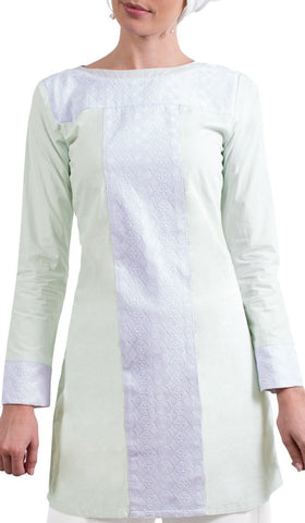 Rita Long Eyelet Accent Fine Cotton Tunic - Ice Green Details