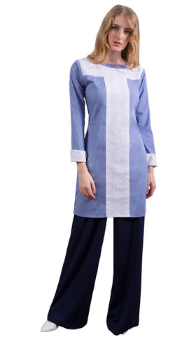 Rita Long Eyelet Accent Fine Cotton Tunic - French Blue