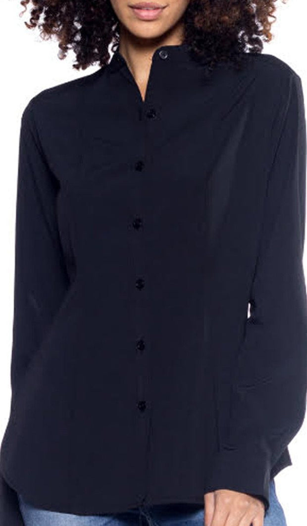 Ayn Shaped Button Down Dress Shirt - Black