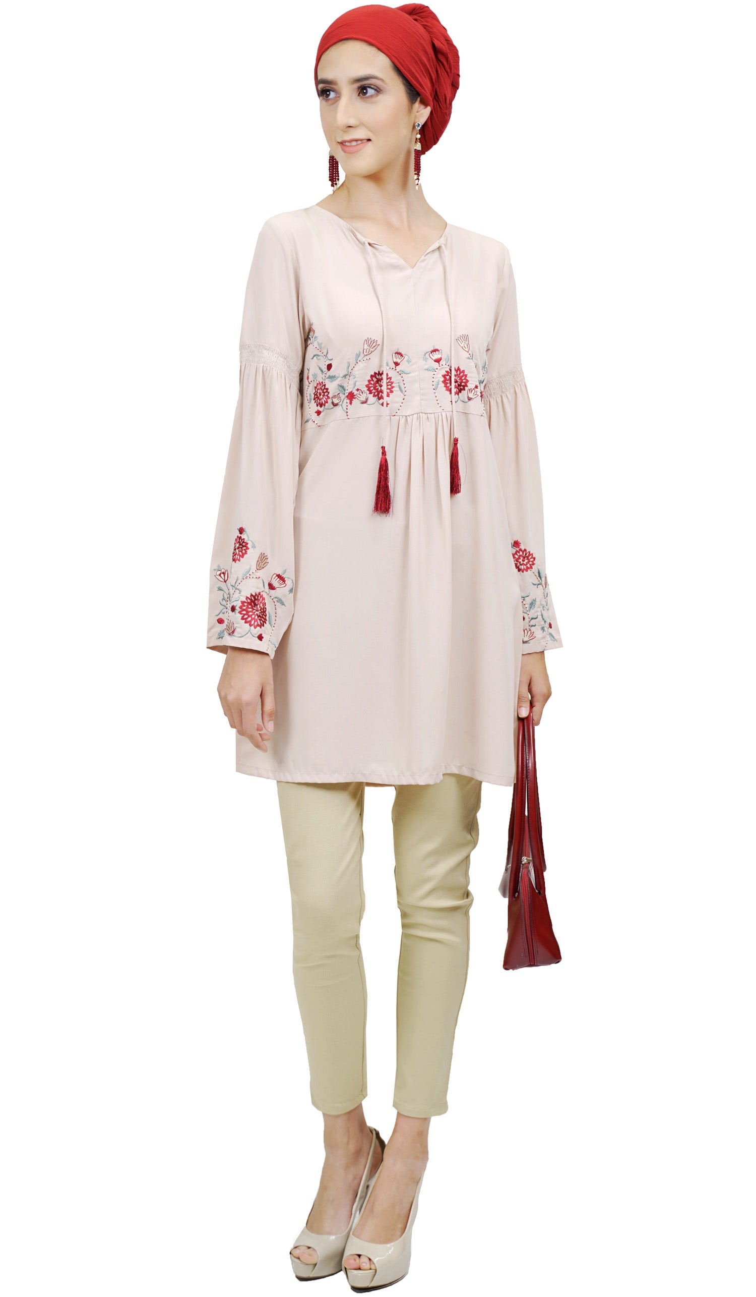 Rosa Embroidered Long Modest Tunic Dress - Blush