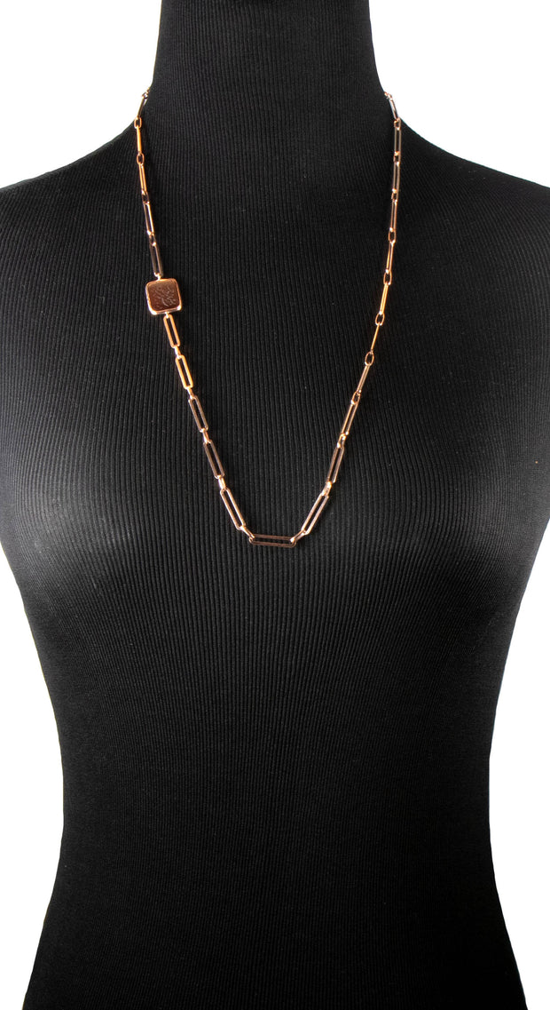 Rose Gold over Sterling Silver Hand Engraved Aqeeq Necklace/ Bracelet