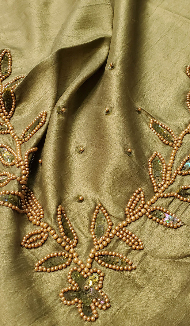 Rula Hand Embroidered Silk Wrap Hijab - Olive Green