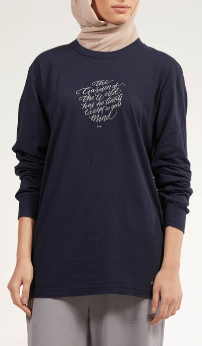 Rumi Quotes Fine Long Sleeve Unisex T Shirt - World - Navy