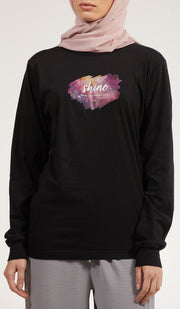 Rumi Quotes Fine Long Sleeve Womens T Shirt - Shine - Black/ Multi