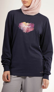 Rumi Quotes Fine Long Sleeve Womens T Shirt - Shine - Navy/ Multi