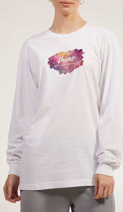 Rumi Quotes Fine Long Sleeve Womens T Shirt - Shine - White/ Multi