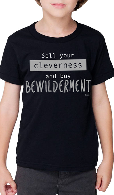 Rumi Quotes Fine Short Sleeve Kids T Shirt - Bewilderment - Black