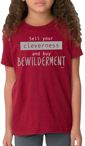 Rumi Quotes Fine Short Sleeve Kids T Shirt - Bewilderment - Maroon