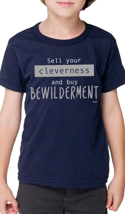 Rumi Quotes Fine Short Sleeve Kids T Shirt - Bewilderment - Navy