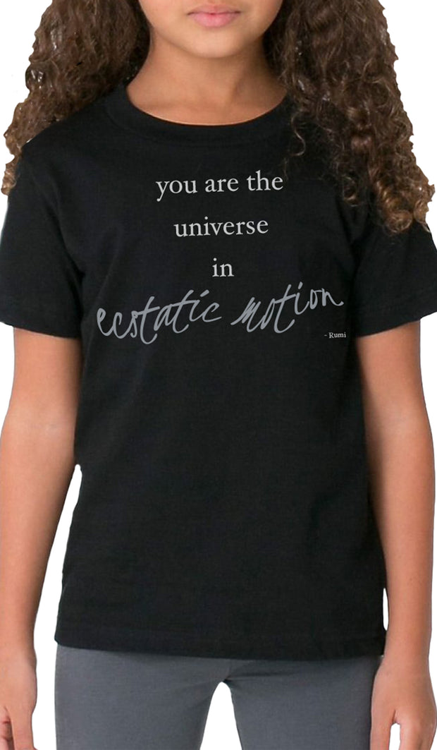 Rumi Quotes Fine Short Sleeve Kids T Shirt - Ecstatic - Black