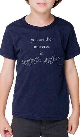 Rumi Quotes Fine Short Sleeve Kids T Shirt - Ecstatic - Navy Blue