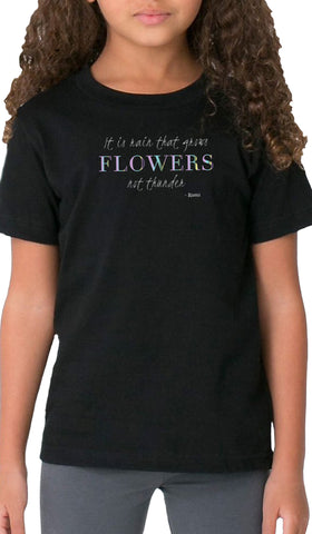 Rumi Quotes Fine Short Sleeve Kids T Shirt - Flowers - Black