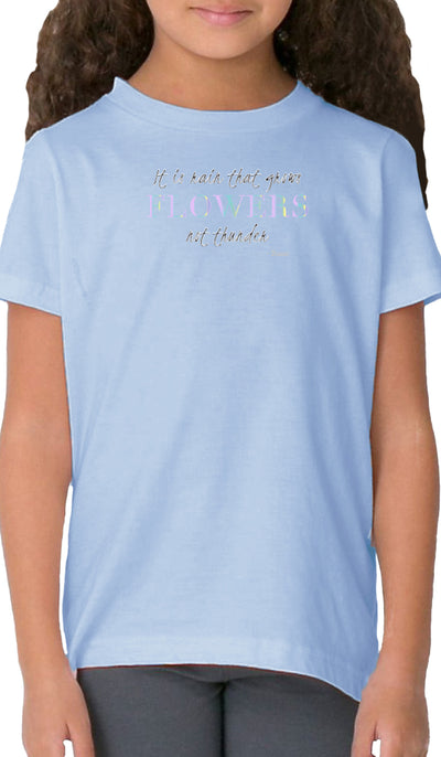 Rumi Quotes Fine Short Sleeve Kids T Shirt - Flowers - Light Blue
