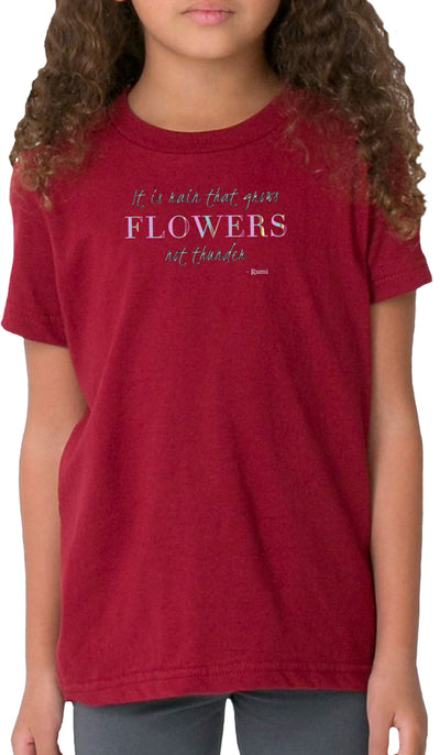 Rumi Quotes Fine Short Sleeve Kids T Shirt - Flowers - Maroon