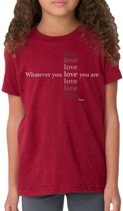 Rumi Quotes Fine Short Sleeve Kids T Shirt - Love - Maroon