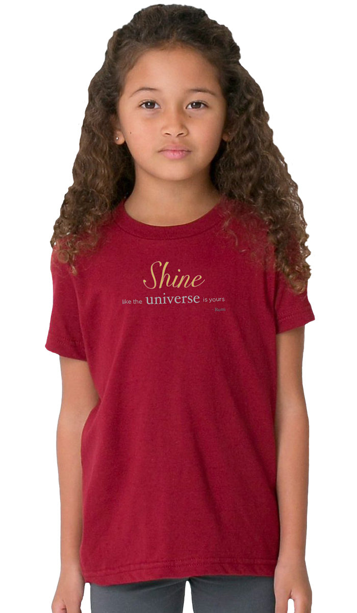 Rumi Quotes Fine Short Sleeve Kids T Shirt - Shine - Maroon
