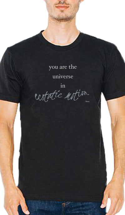 Rumi Quotes Fine Short Sleeve Unisex T Shirt - Ecstatic - Black