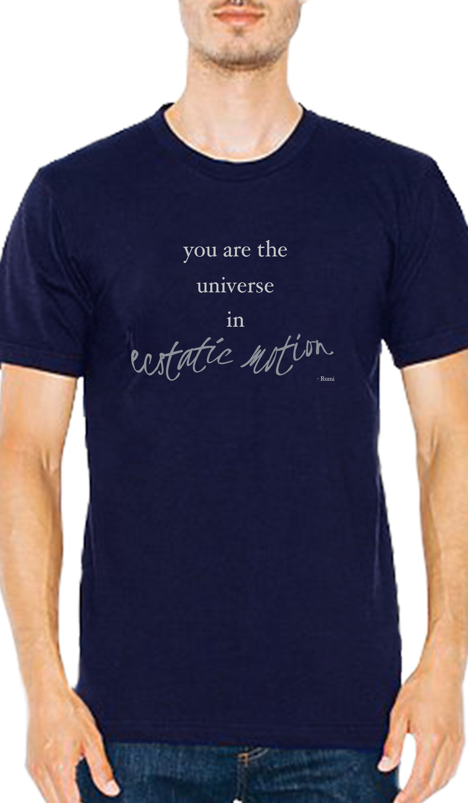 Rumi Quotes Fine Short Sleeve Unisex T Shirt - Ecstatic - Navy