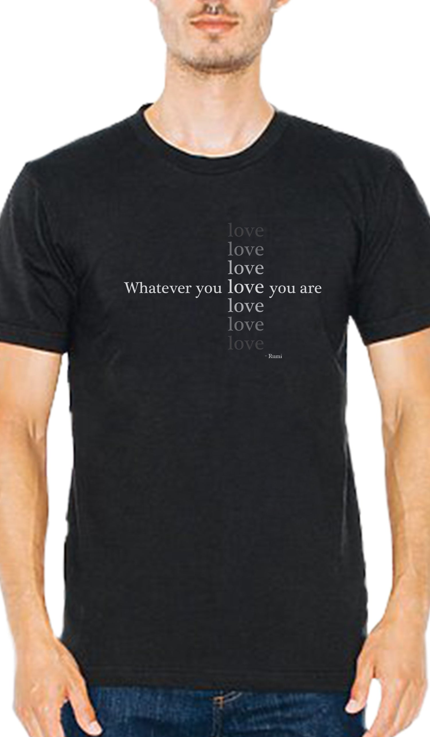 Rumi Quotes Love Short Sleeve Mens T Shirt Black Islamic T Shirt