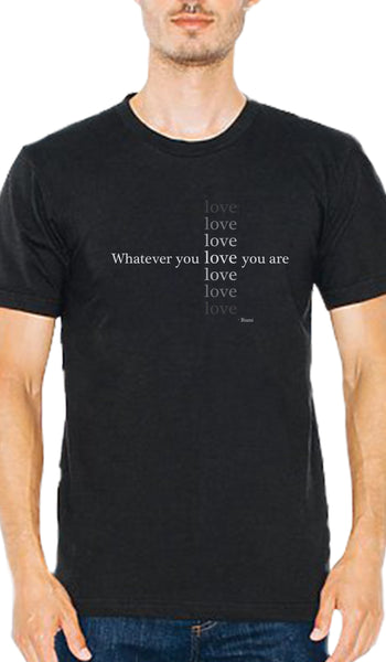 Rumi Quotes Fine Short Sleeve Unisex T Shirt - Love - Black