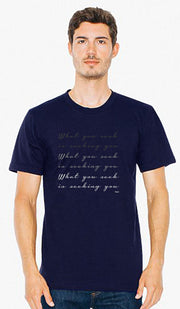 Rumi Quotes Fine Short Sleeve Unisex T Shirt - Seek - Navy