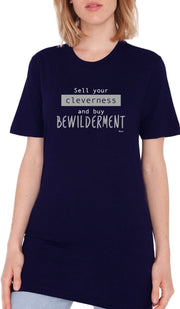 Rumi Quotes Fine Short Sleeve Unisex T Shirt -  Bewilderment - Navy
