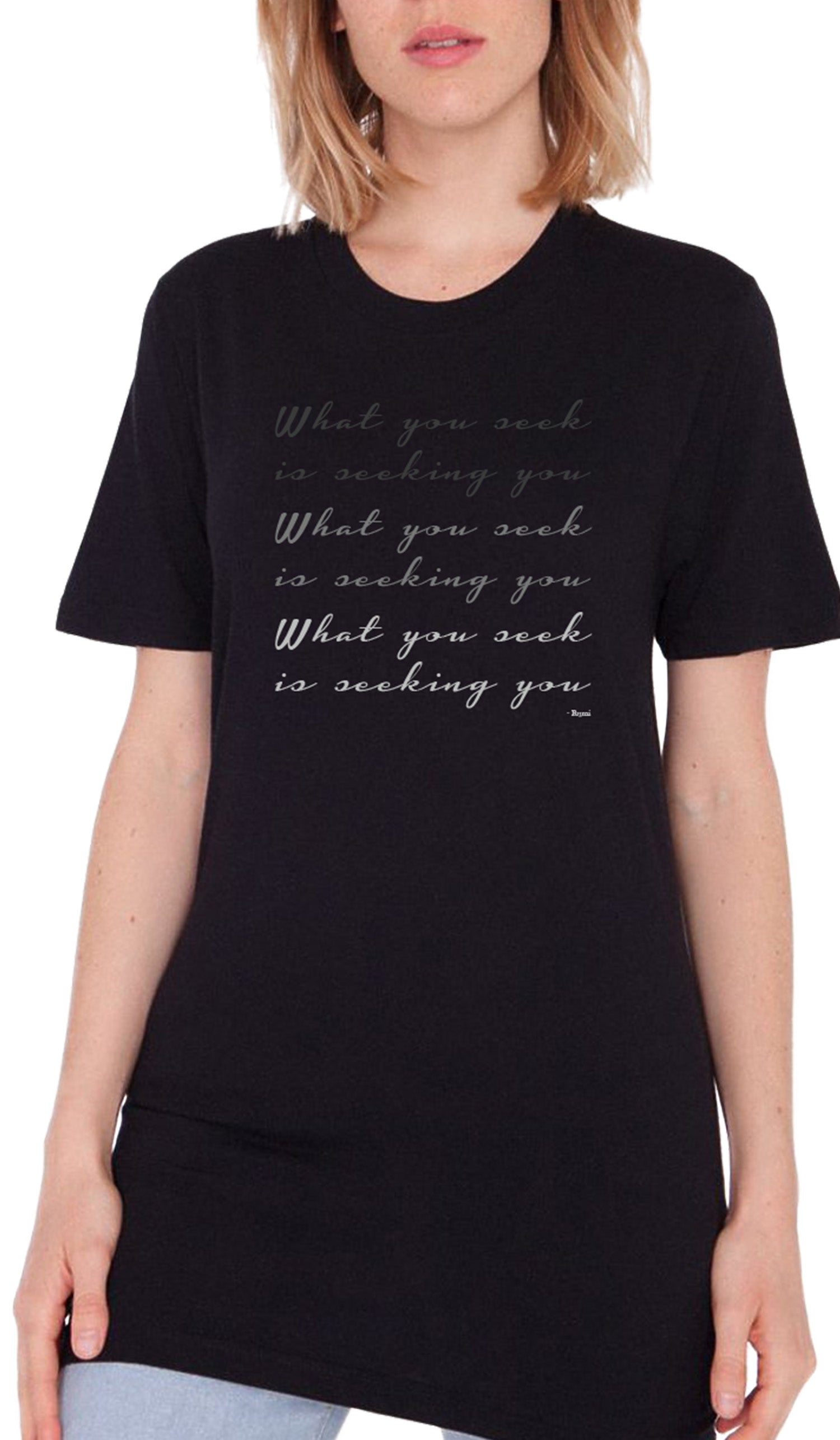 Rumi Quotes Fine Short Sleeve Unisex T Shirt - Seek - Black