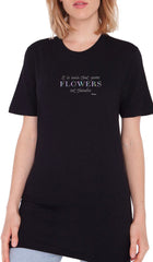 Rumi Quotes Fine Short Sleeve Womens T Shirt - Flowers - Black