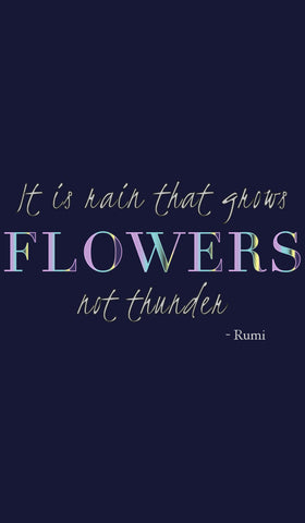 Rumi Quotes Fine Short Sleeve Womens T Shirt - Flowers - Navy