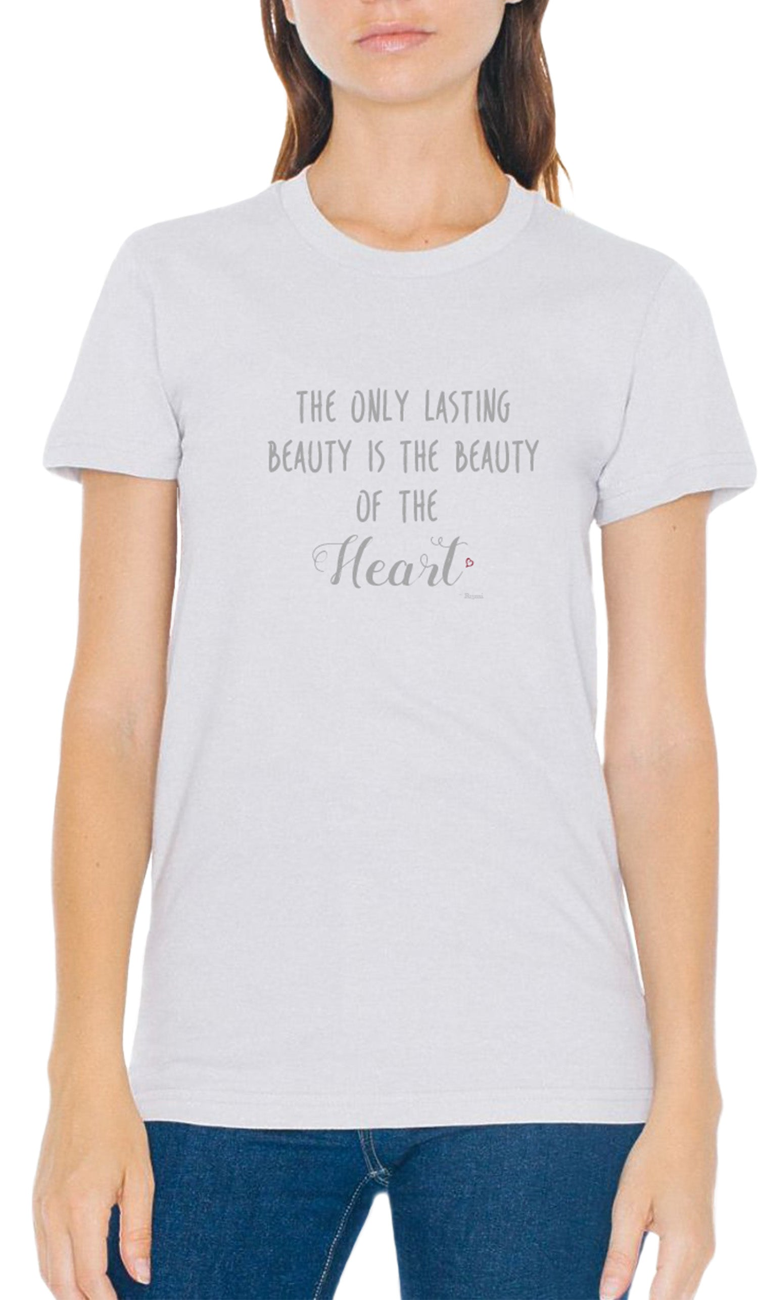 Rumi Quotes Fine Short Sleeve Womens T Shirt - Heart - Gray