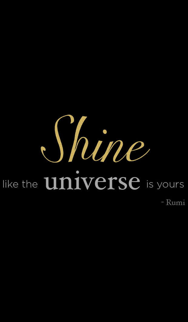 Rumi Quotes Fine Short Sleeve Womens T Shirt - Shine - Black