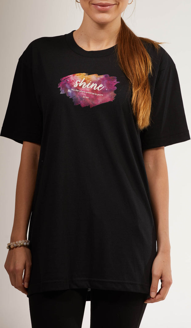 Rumi Quotes Fine Short Sleeve Womens T Shirt - Shine - Black/ Multi