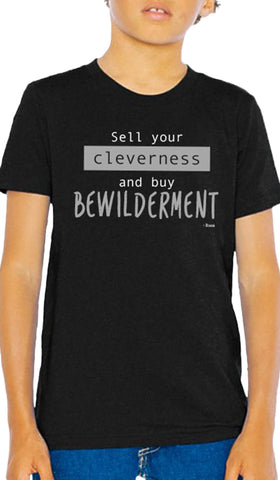 Rumi Quotes Fine Short Sleeve Youth T Shirt - Bewilderment - Black