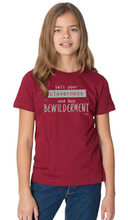 Rumi Quotes Fine Short Sleeve Youth T Shirt - Bewilderment - Maroon