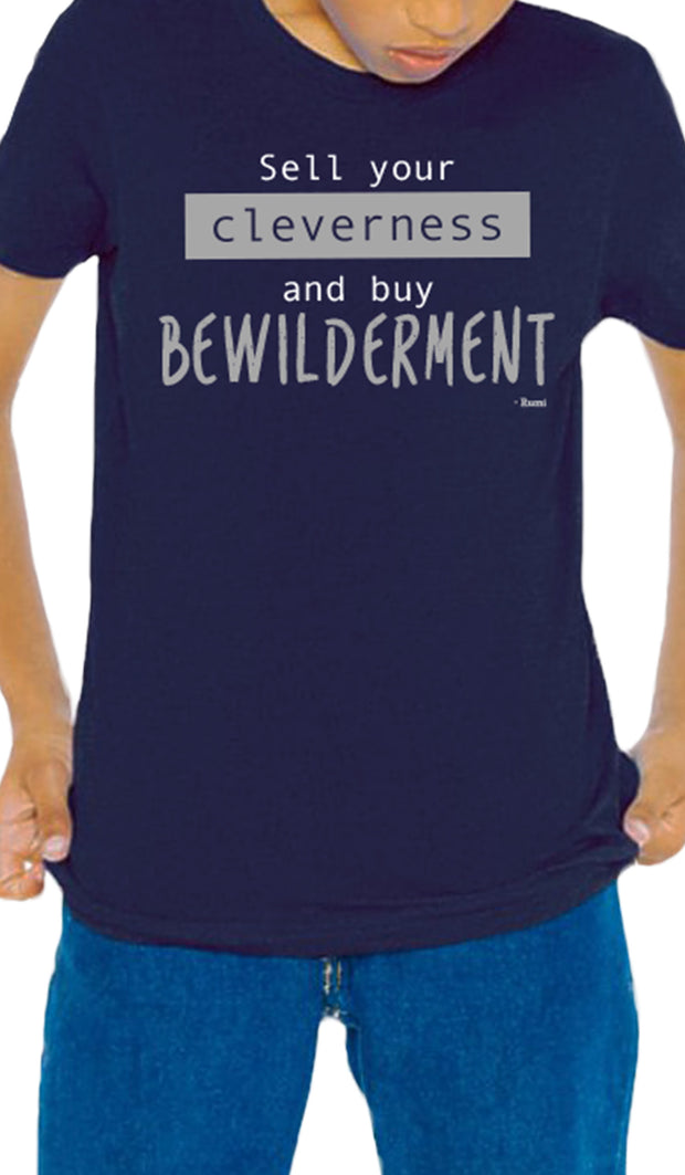 Rumi Quotes Fine Short Sleeve Youth T Shirt - Bewilderment - Navy