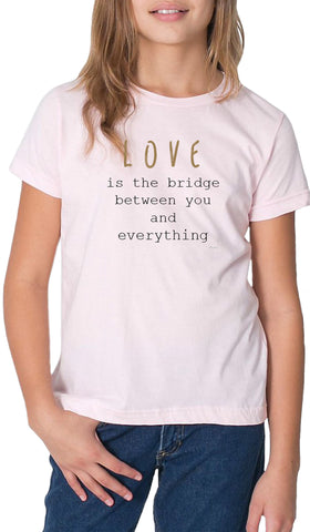 Rumi Quotes Fine Short Sleeve Youth T Shirt - Bridge - Light Pink