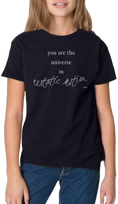 Rumi Quotes Fine Short Sleeve Youth T Shirt - Ecstatic - Black