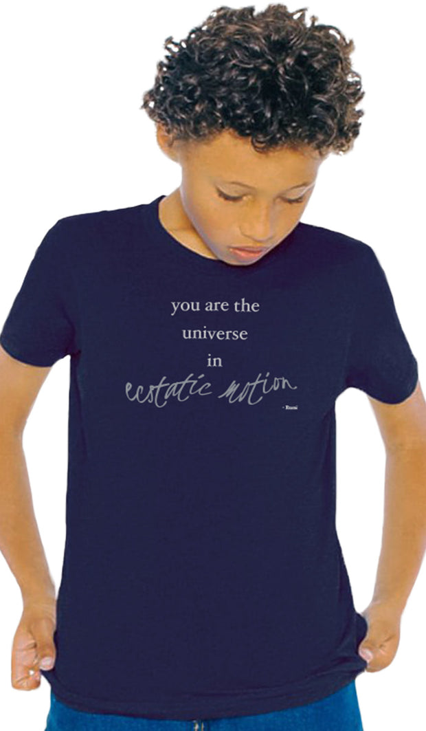 Rumi Quotes Fine Short Sleeve Youth T Shirt - Ecstatic - Navy
