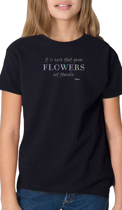Rumi Quotes Fine Short Sleeve Youth T Shirt - Flowers - Black