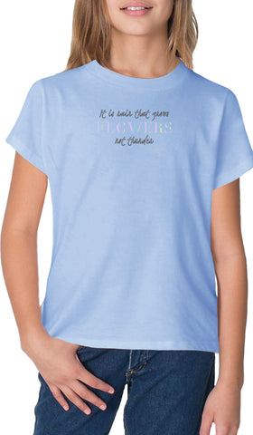 Rumi Quotes Fine Short Sleeve Youth T Shirt - Flowers - Light Blue